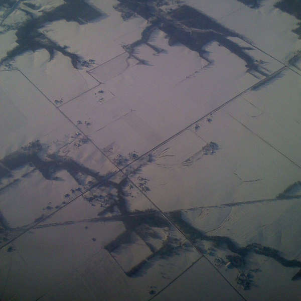 snowy fields at 36,000 feet